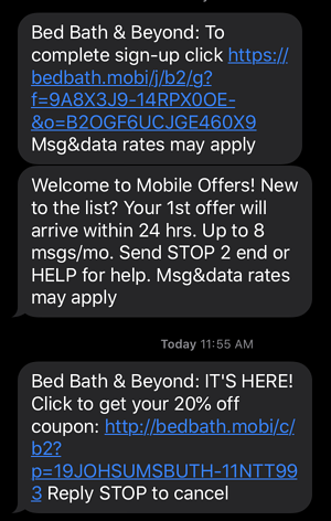 Bed Bath & Beyond text message marketing example
