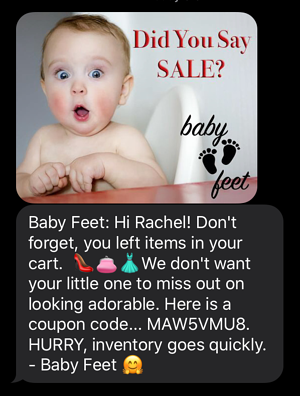 Baby Feet abandoned cart text message