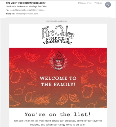 fire cider welcome email