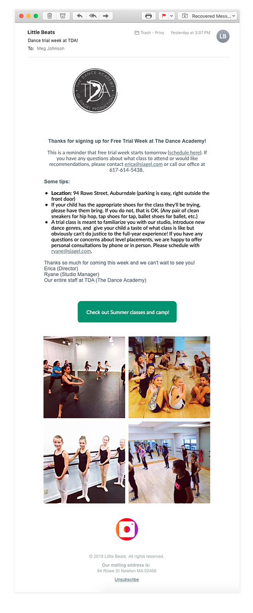 Little Beats Newsletter Email Example