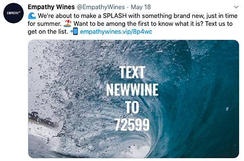 Empathy Wines SMS tweet
