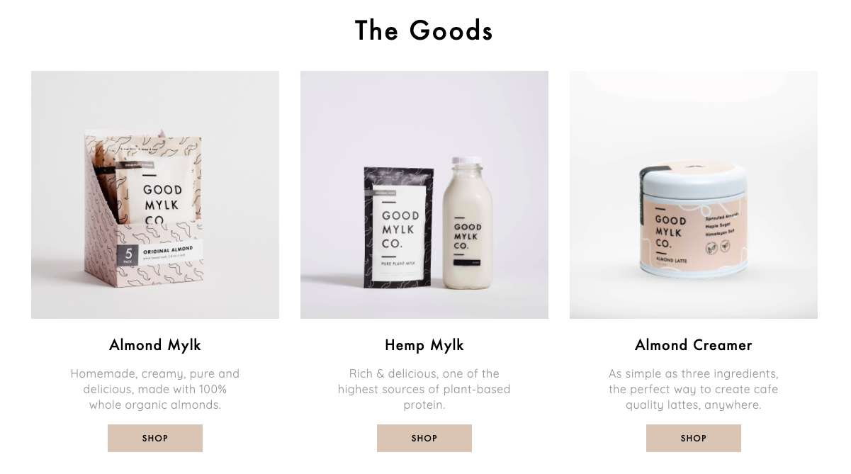 Good Mylk home page products