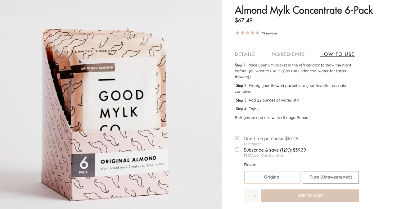 Good mylk product page