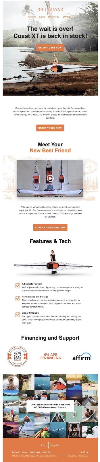 Oru Kayak Segmented Email Marketing Example Shopify