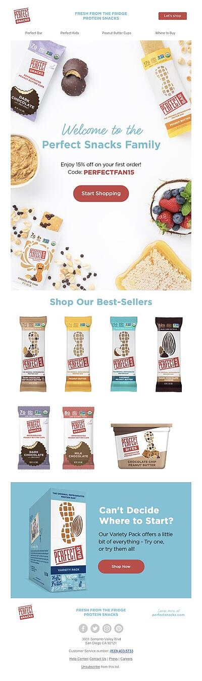 Perfect Snacks Email Marketing Example Shopify CTA