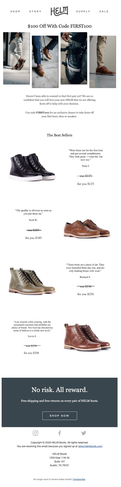 HELM Boots Segmented Email Marketing Example Shopify