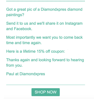 DiamondXPres Social Shopper Email