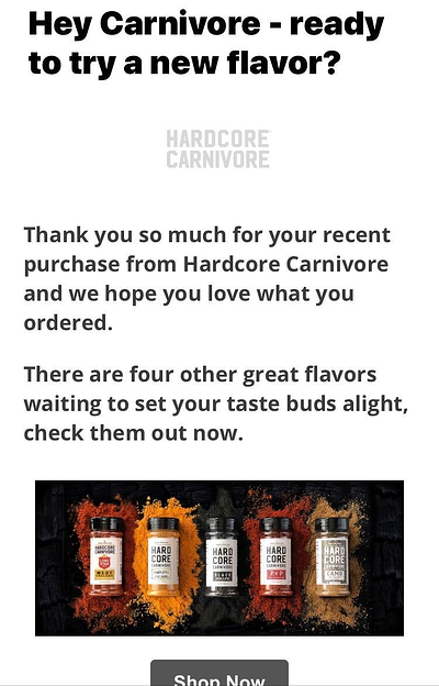 Hardcore Carnivore Cross Sell Email