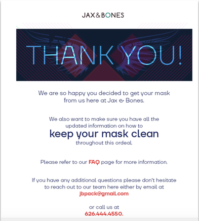 Jax & Bones Ecommerce Marketing Email