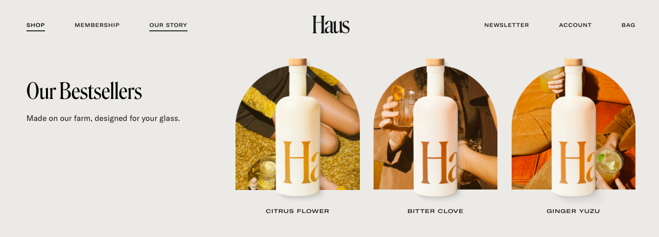 Haus homepage product hover