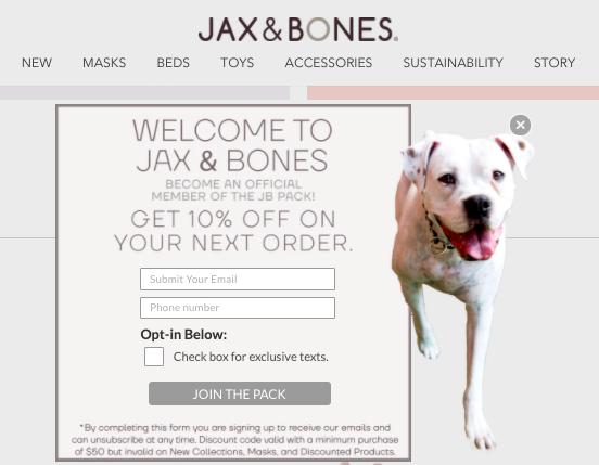Jax & Bones SMS marketing opt-in messaging