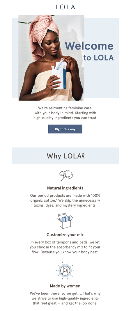 Lola Welcome Email