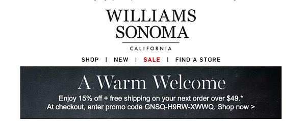 williams sonoma welcome email