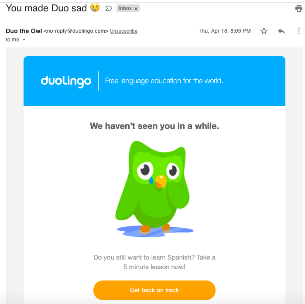 duolingo reengagement email