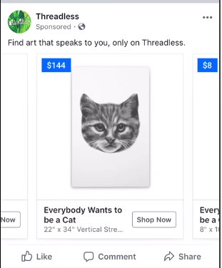 threadless dynamic targeting ad