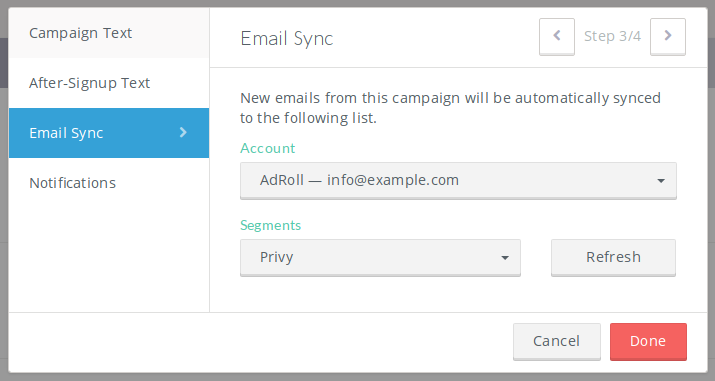 Sync all new contacts to Adroll