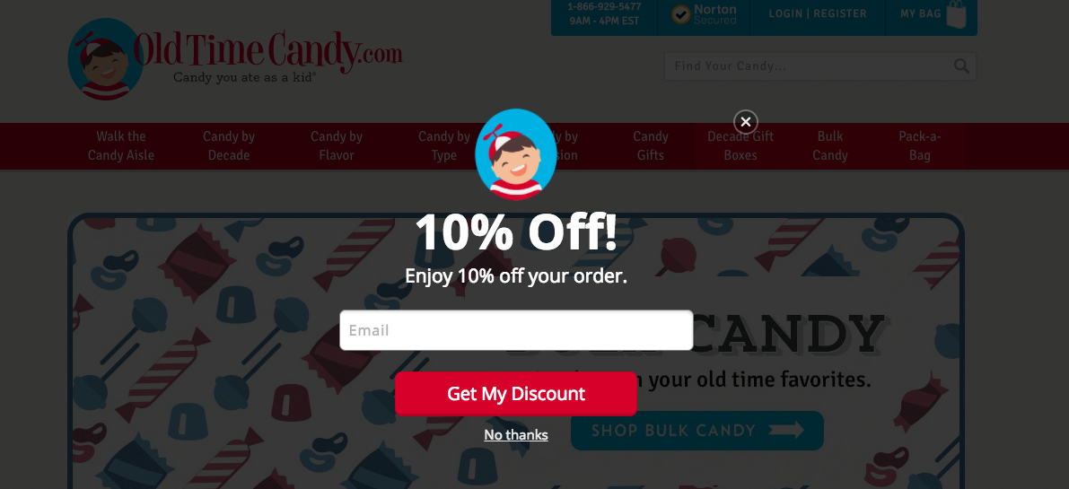 Old Time Candy_Full Page Cart Saver Pop Up Example