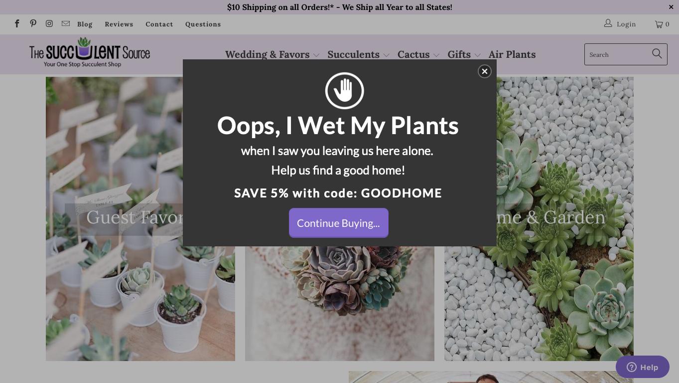 The Succulent Source_Cart Saver Pop Up