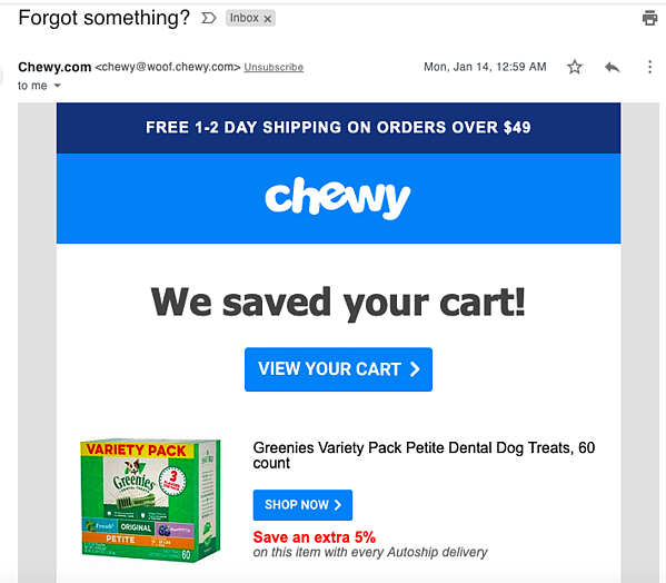 chewy abandoned cart email