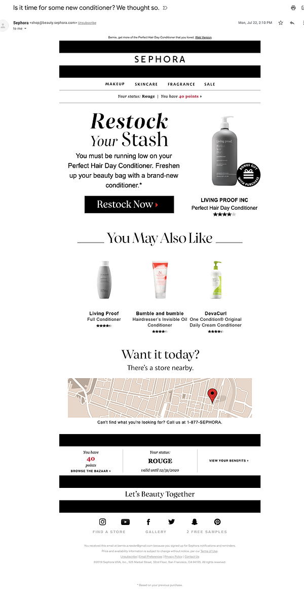 sephora replenishment email example
