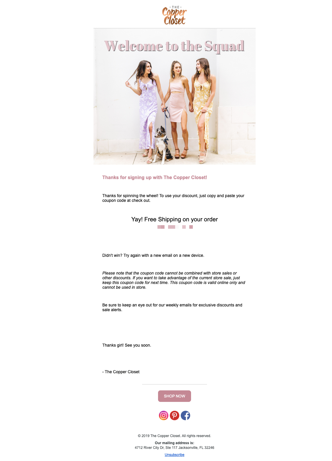 Welcome Email Example From Copper Closet Privy
