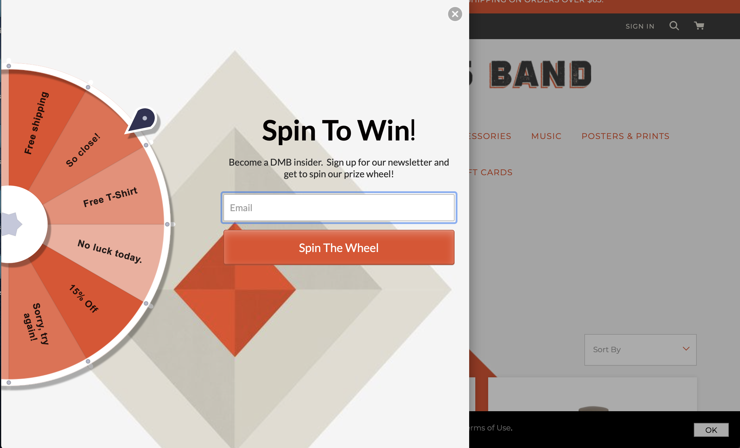 Dave Matthews Band spin-to-win